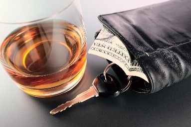 Alcohol, car keys and wallet